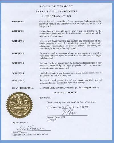 Governor Dean's Proclamation